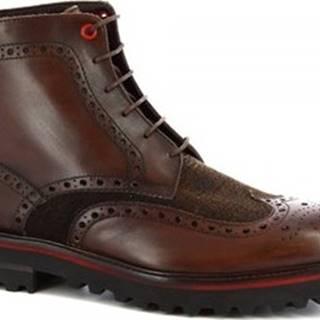 Leonardo Shoes Kotníkové boty M631-24 S. F CALF/SEVENTY/T. MORO Hnědá