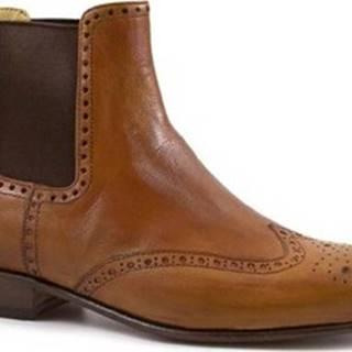 Leonardo Shoes Kotníkové boty PINA 044 CUOIO Hnědá