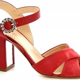 Leonardo Shoes Sandály 5704 CAMOSCIO SALMONE Červená