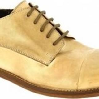 Leonardo Shoes Šněrovací polobotky 2463/13 PAPUA BEIGE CUOIO Béžová