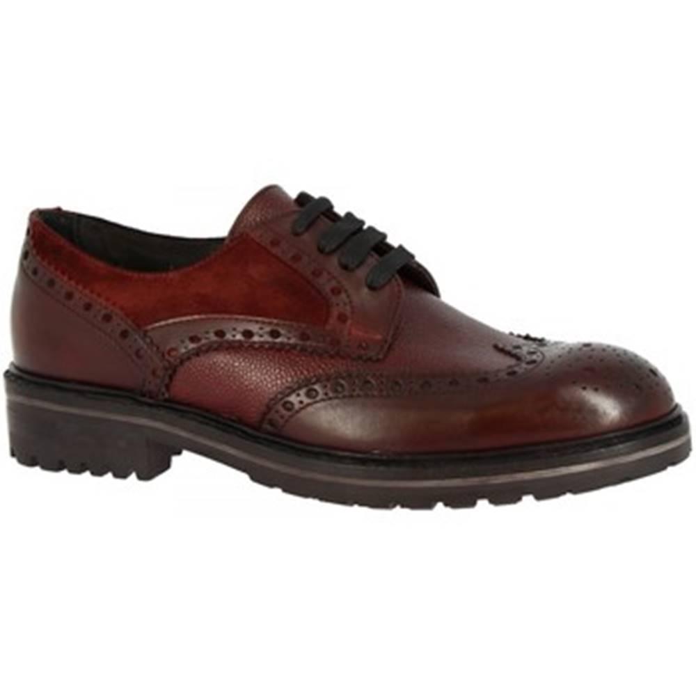 Leonardo Shoes Leonardo Shoes Šněrovací polobotky M030-04 RISO VELOUR BORDEAUX Červená