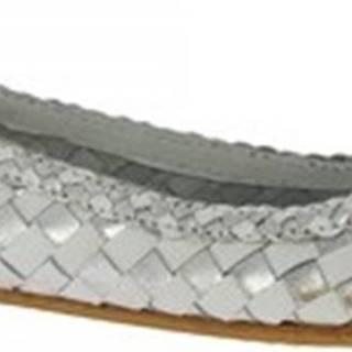 Leonardo Shoes Baleríny GIANNA SILVER/WHITE Stříbrná