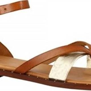 Leonardo Shoes Sandály 303B LAM. PLAT. CUOIO Hnědá