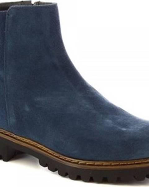 Modré kozačky Leonardo Shoes