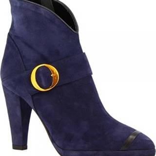 Leonardo Shoes Kotníkové kozačky 4553 CAM/NAPPA BLU Modrá