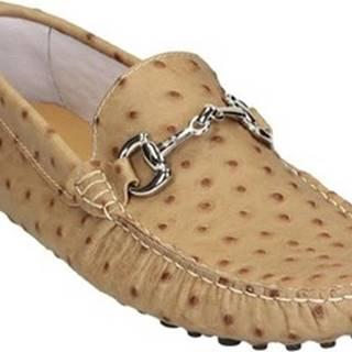Leonardo Shoes Mokasíny 504 STRUZZO BEIGE Béžová