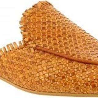 Leonardo Shoes Pantofle 085 INTRECCIO CAPRETTO CUOIO Hnědá