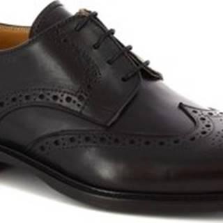 Leonardo Shoes Šněrovací polobotky 110 VITELLO NERO Černá