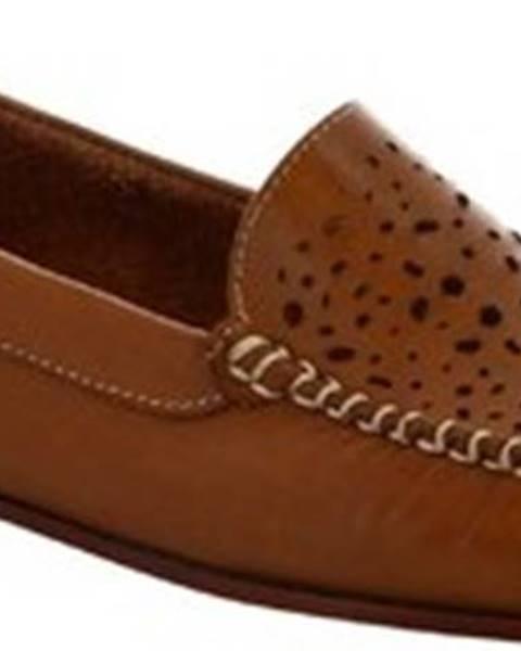 Hnědé baleríny Leonardo Shoes