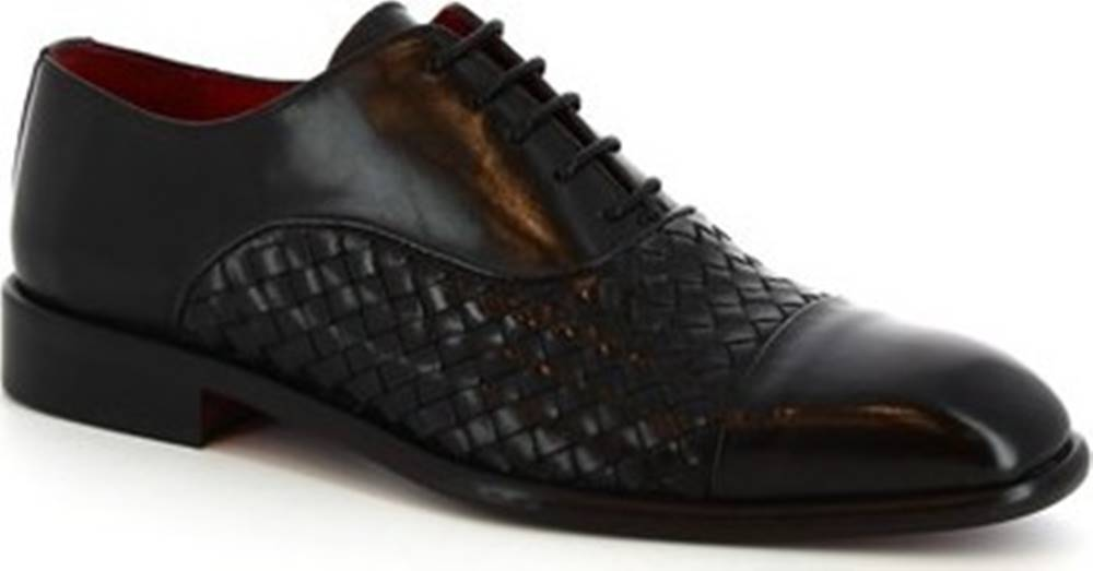 Leonardo Shoes Leonardo Shoes Šněrovací polobotky 188 V.NERO INTRECCIATO Černá