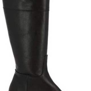 Leonardo Shoes Kozačky J301 VITELLO NERO Černá