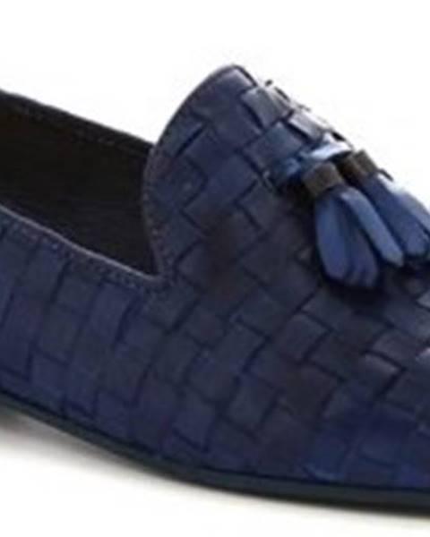 Modré baleríny Leonardo Shoes
