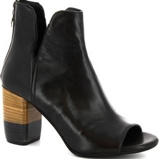 Leonardo Shoes Kotníkové kozačky 4626 VITELLO NERO Černá