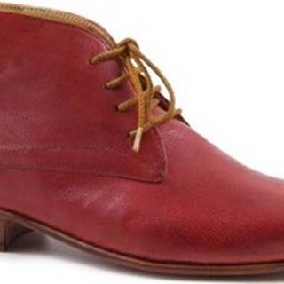 Leonardo Shoes Kotníkové kozačky PINA 045 RED/TAN Červená