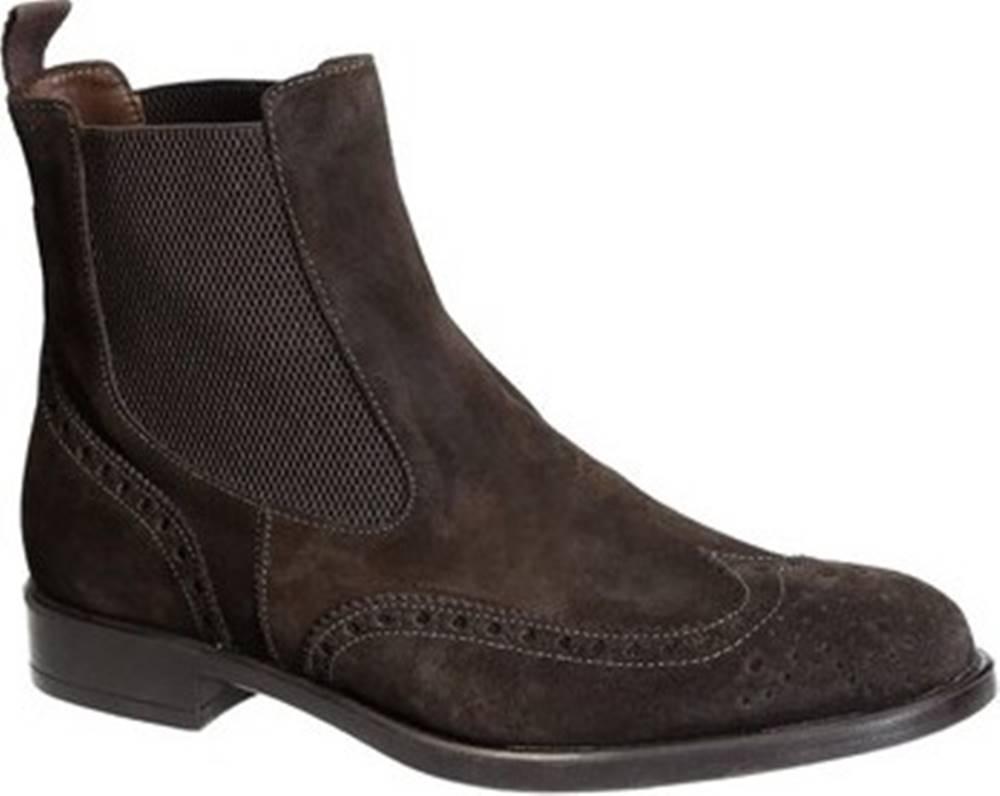 Leonardo Shoes Leonardo Shoes Kotníkové boty 248-4965 VELOUR MORO Hnědá