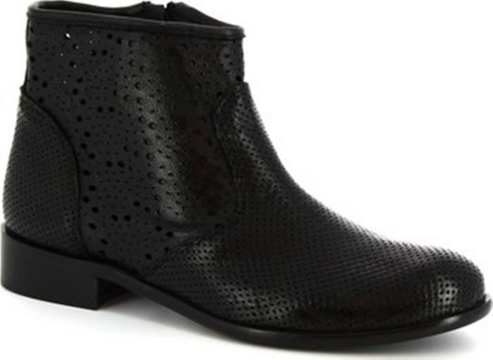 Leonardo Shoes Leonardo Shoes Kotníkové kozačky 202 ROK NERO Černá