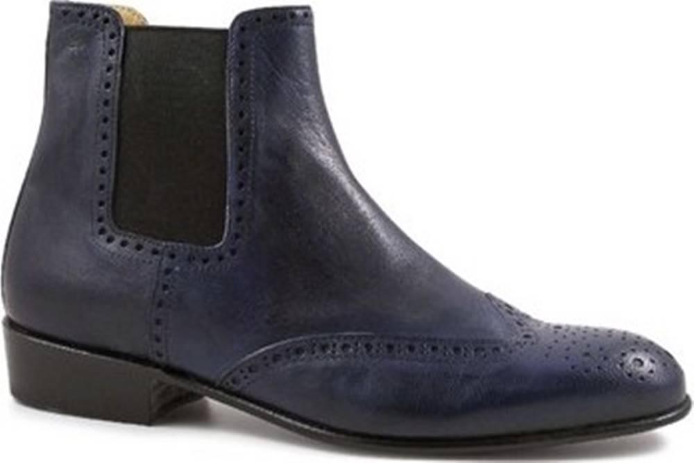 Leonardo Shoes Leonardo Shoes Kotníkové kozačky PINA 044 BLU Modrá