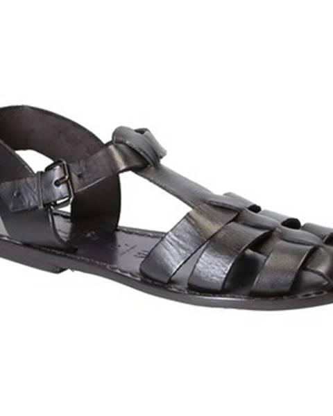 Černé sandály Gianluca - L'artigiano Del Cuoio