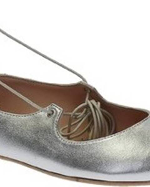 Stříbrné baleríny Leonardo Shoes