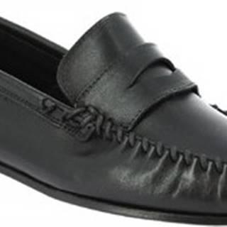 Leonardo Shoes Mokasíny 1300 VITELLO NERO Černá