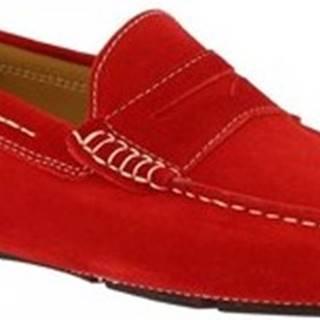 Leonardo Shoes Mokasíny 8309 SOFTY ROSSO Červená