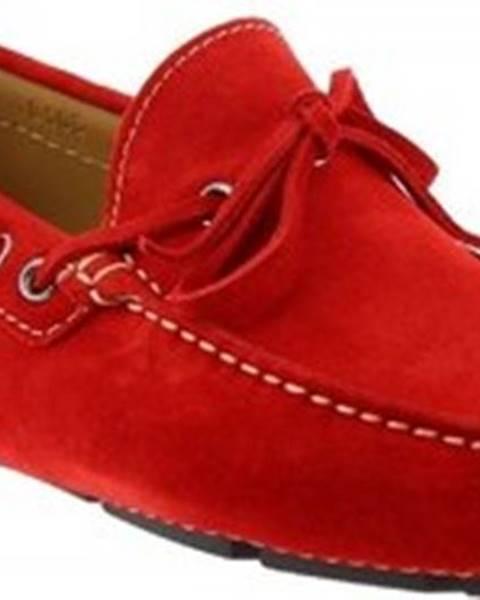 Červené mokasíny Leonardo Shoes