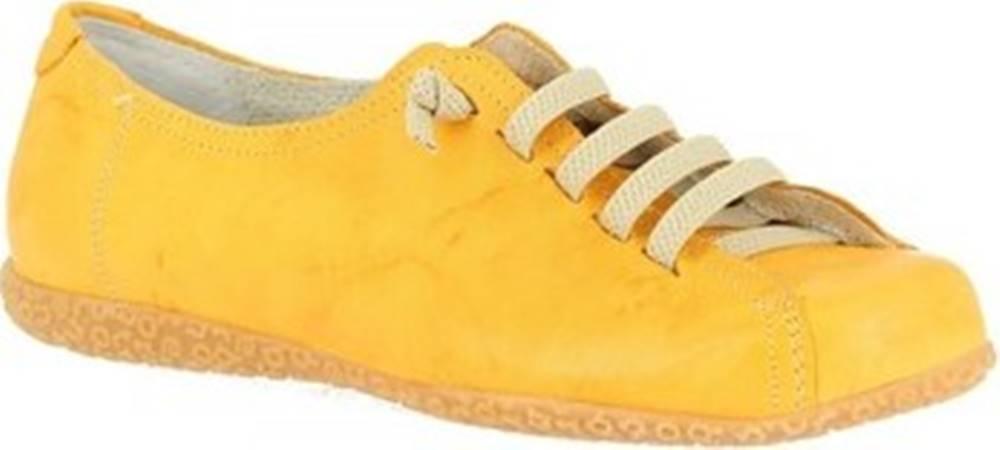 Leonardo Shoes Leonardo Shoes Šněrovací polobotky 1269PINTA GIALLO Žlutá