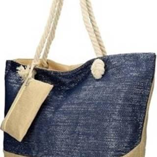 Linea Moda Velké kabelky / Nákupní tašky Velká plážová taška modrá se stříbrnou nití B6806 Modrá
