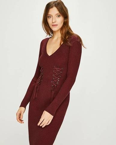 Burgundské šaty Guess Jeans