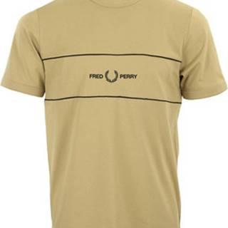 Trička s krátkým rukávem Embroidered Panel T-Shirt Hnědá