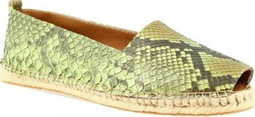 Leonardo Shoes Sandály 3360 ESPA PITONE VERDE Zelená