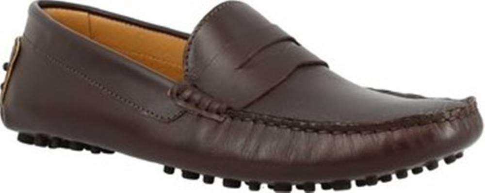 Leonardo Shoes Mokasíny 503 VITELLO T. MORO UOMO Hnědá