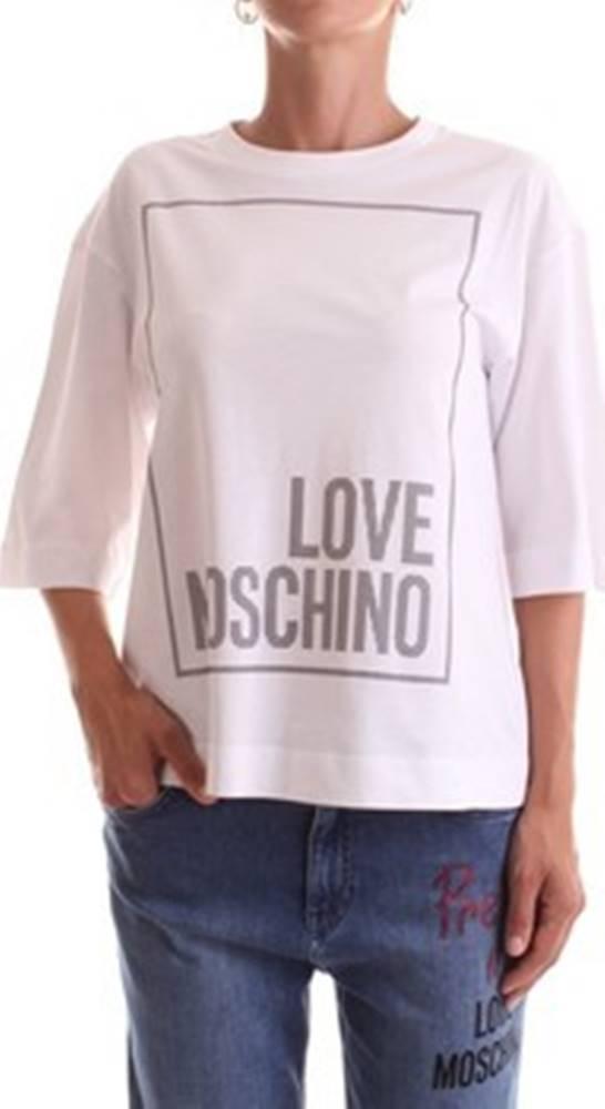 Love Moschino Trička s krátkým rukávem W4H0902M3876 Bílá