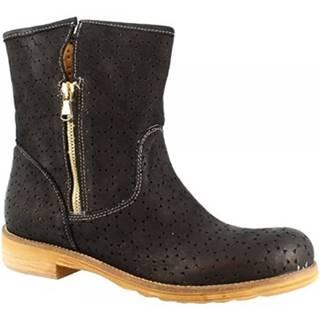 Kotníkové boty 726B NABUK NERO Černá