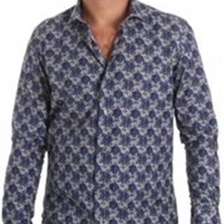 Košile s dlouhymi rukáv DB111 Modrá