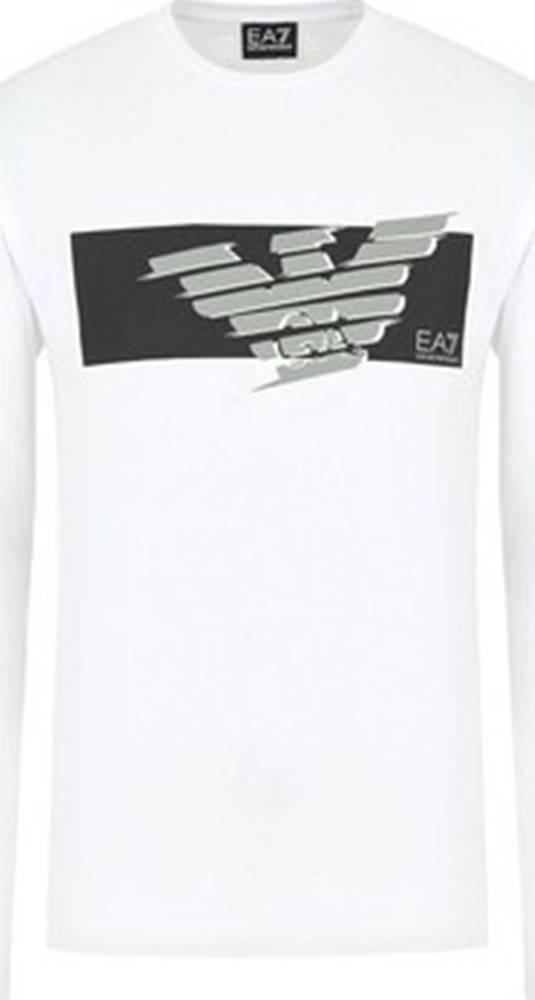 Emporio Armani EA7 Trička s dlouhými rukávy 3HPT50 PJT3Z Bílá