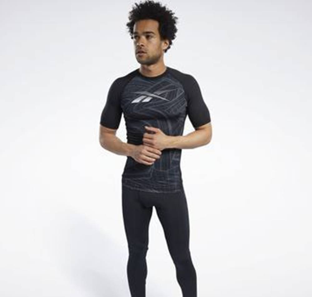 Reebok Sport Trička s krátkým rukávem Compression Printed Short Sleeve Tee Černá