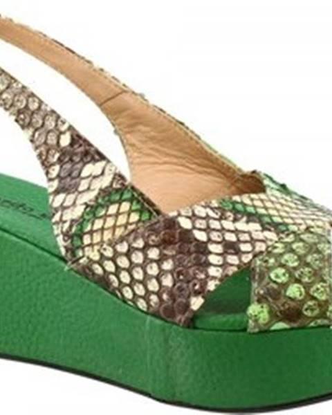 Zelené sandály Leonardo Shoes