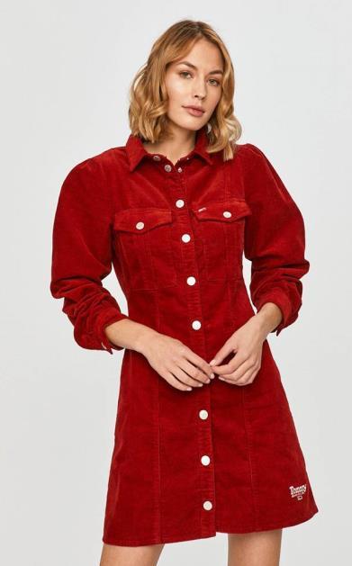 Burgundské šaty Tommy Jeans