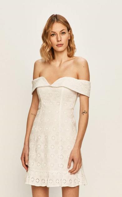 Bílé šaty Guess Jeans